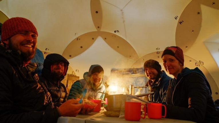 Polar scientists enjoying a tundra feast.