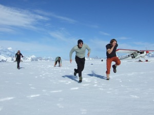Racing on the ice field