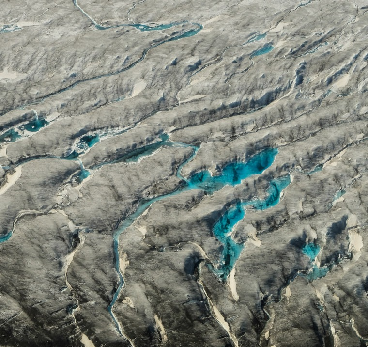 Crevasses and melt water ponds on the Kaskawulsh Glacier