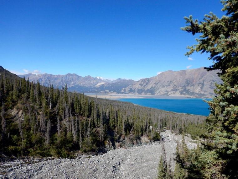 Blue skies over Kluane Lake and the St. Elisa mountains