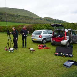 The ground control station set up... cars are such a luxury, we will have to carry all in the Arctic.