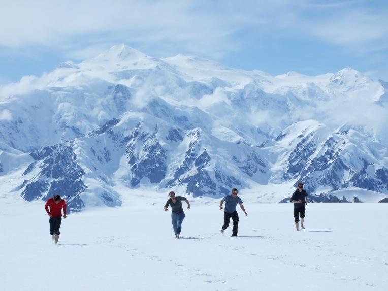 Barefoot glacier run