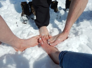 Tingling and freezing feet after the bearfoot Ice Fields run.
