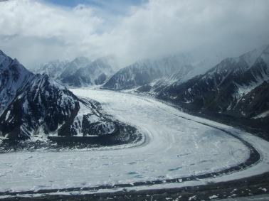 More glaciers and tracks of moraine.