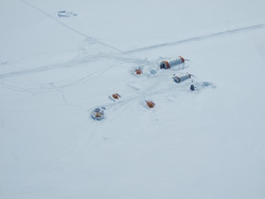 Ice Fields Discovery Camp from the air.