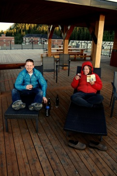 """The evening before the morning flight to Inuvik. Everyone in terrific spirits sipping local ale and learning how to say """"I am an apple"""" in Finnish."""