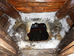 Into the Ice House, a permafrost cellar underground, where we are storing some of our frozen food.