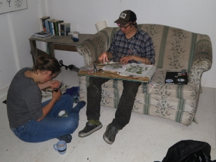 Arts and crafts on the island - making this year's plaque.