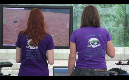 Sandra and Isla using the flight simulator!