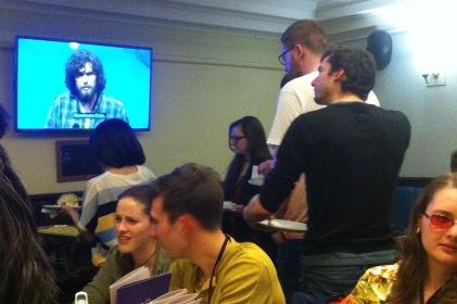 Watching university challenge at the pub