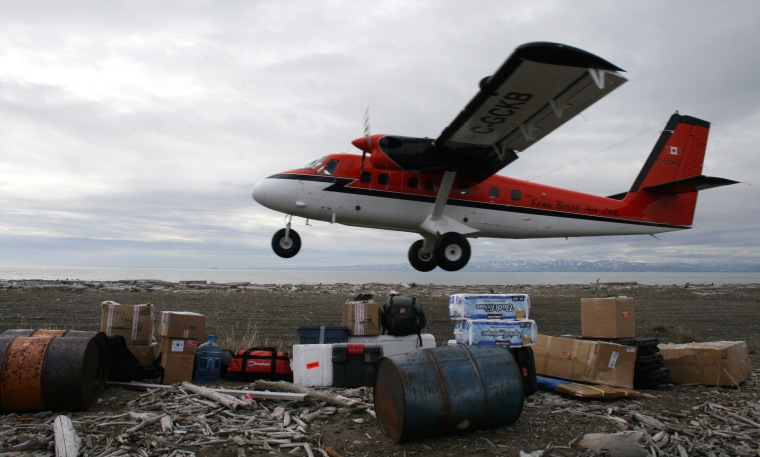 The Twin Otter arriving on the island in 2016.