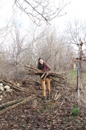 Gergana, the author of this post, collecting wood in her Bulgarian village