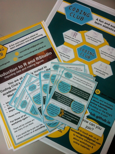 Posters and flyers to spread the word about Coding Club