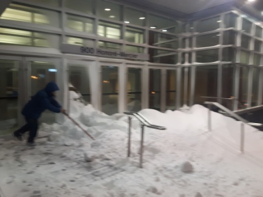 Piles of snow outside the conference centre.