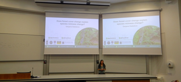 Gergana presenting some of the preliminary results of her work on forest cover change and biodiversity trends