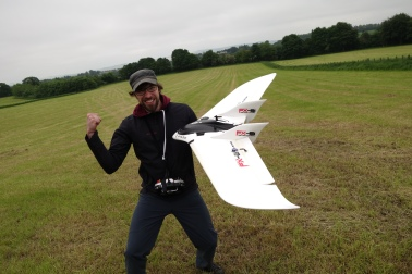 Jakob celebrating a successful first test flight!