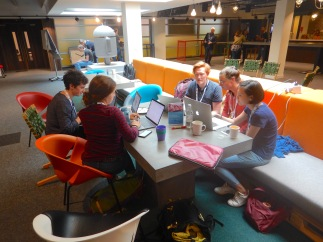 Coding away during the Drone Hackathon