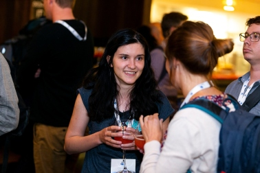 Schmooszing at the Earth Engine Summit. Photo Credit: Alan Rowlette.