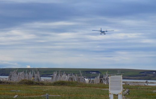 A twin otter taking off - passengers, equipment and willows on board!